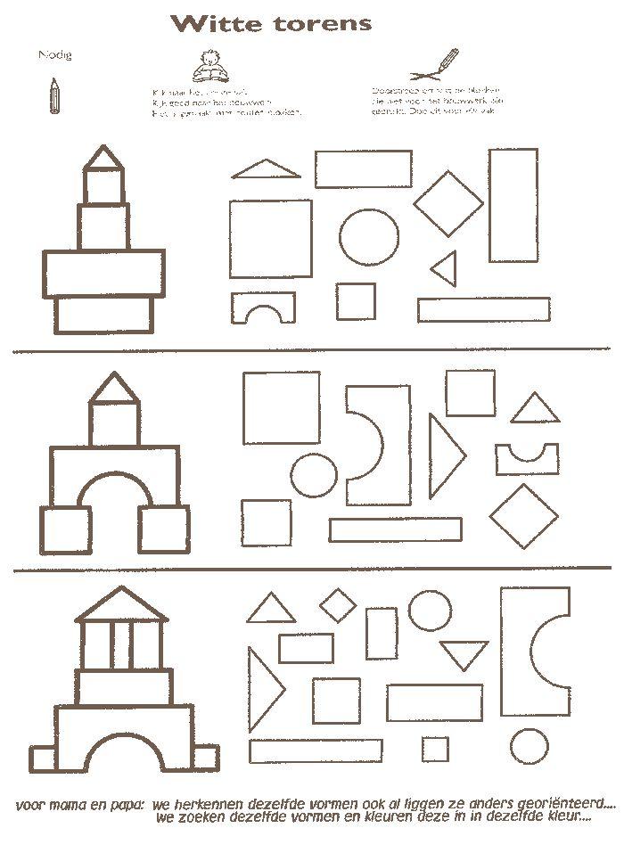 Zoek dezelfde vorm als het voorbeeld en kleur deze in.....