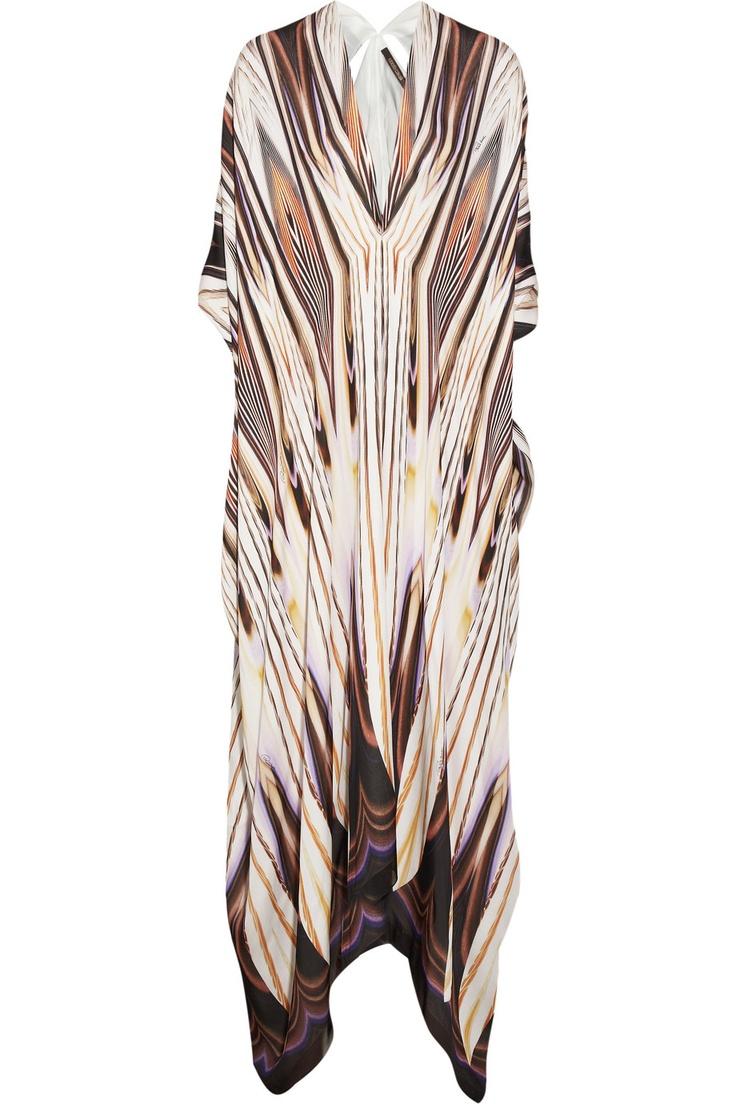 Printed silk-georgette kaftan by Roberto Cavalli