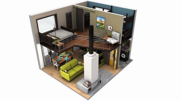 Tiny house floor plans two bedroom design and loft space for Cube house design layout plan