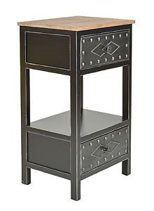 Cute Cabinet Commode Industrial Vintage Design Wood Metal Nightstand