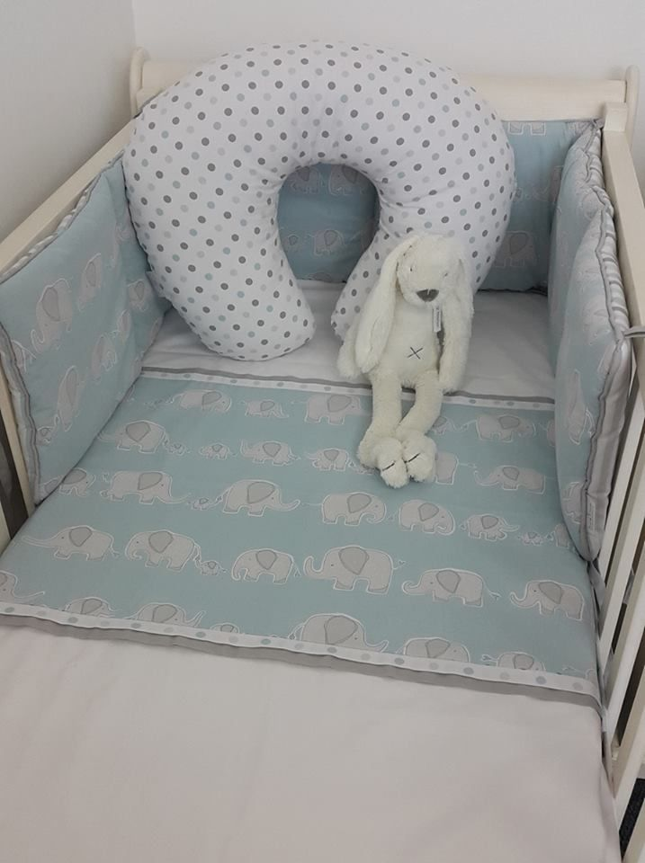 Our #SweetEllie is the cutest #ElephantTheme in #Blue and #Grey, perfect for any #BabyBoy!   #BabyBedding #BabyLinen