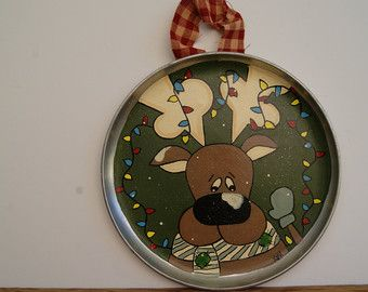 Reindeer Cookie Sheet Decoration Hand Painted by Ramshackles