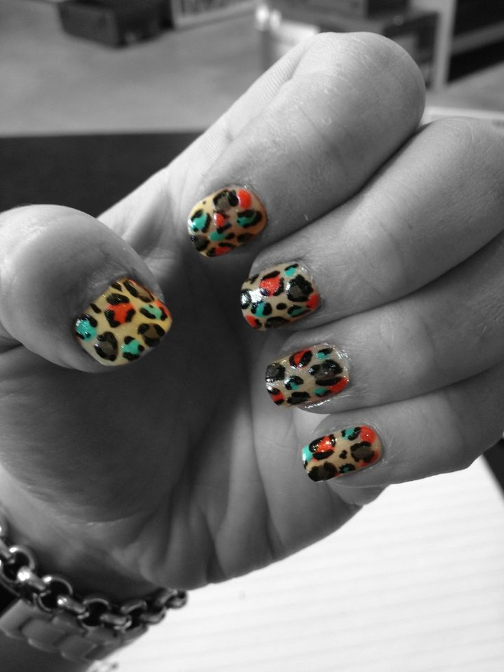 Rainbow Candy leopard nails