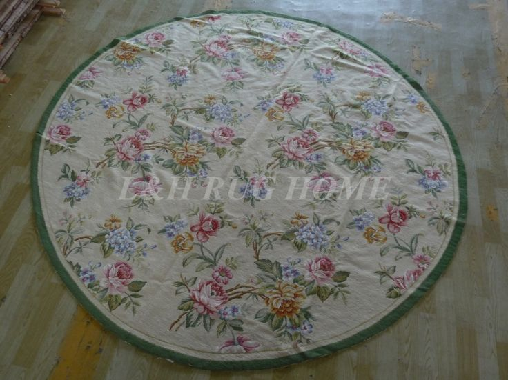Free shipping 8'X8' Round  Handmade Floral Roses Wool Needlepoint Area Rug New Store Openning #Affiliate