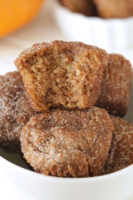 Cinnamon Sugar Pumpkin Donut Holes {paleo, grain-free, gluten-free, dairy-free}sub apple sauce and flax for eggs