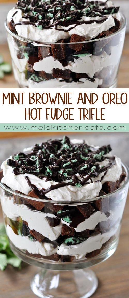 This over-the-top Mint Brownie and Oreo Hot Fudge Trifle is a decadent crowd-pleaser.