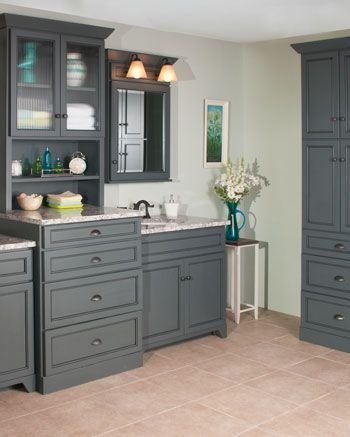 Gallery Website WoodPro Gentry Two Sink Vanity and Base Ensemble with Linen Cabinet The Edgewood door style is shown in Maple with Charcoal and Black glaze color