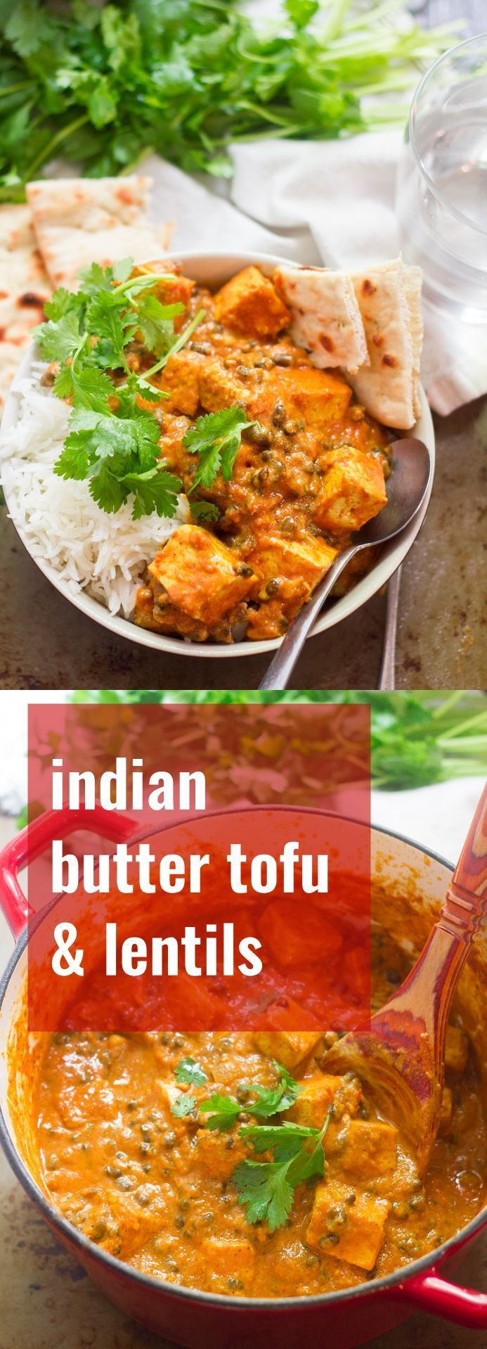 Pan fried tofu and tender black lentils are simmered in spicy tomato sauce with creamy dairy-free yogurt to make this flavorful Indian-inspired vegan curry.