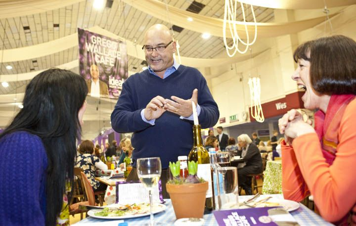 Celeb chef Gregg Wallace entertains some visitors in the Gregg Wallace Cafe.
