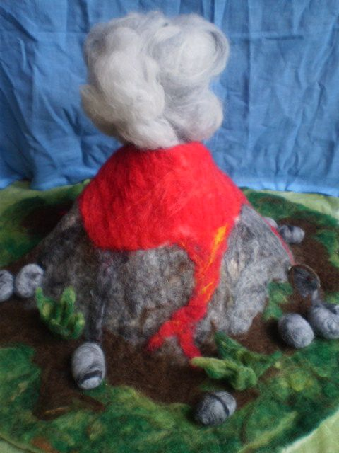 Merino wool hand felted volcano playscape with exploding lava and ash cloud - Magical Forest Creations