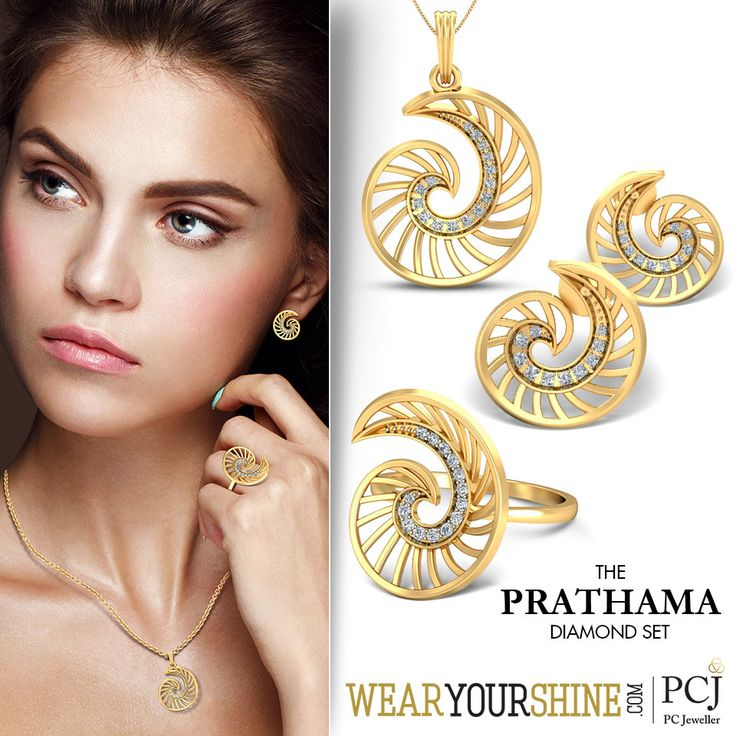 "Create a glorious chic to your lush outfits as you flaunt ""The Prathama Diamond Set"" available online on WearYourShine.com  Shop the exotics here: http://goo.gl/qykfVA      #Fashion #Trends #Jewellery #Ecommerce #Online #Store #DiamondSet #MatchingSets #Diamonds #Rings #Earrings #Pendants #SoRoposo #Roposo"