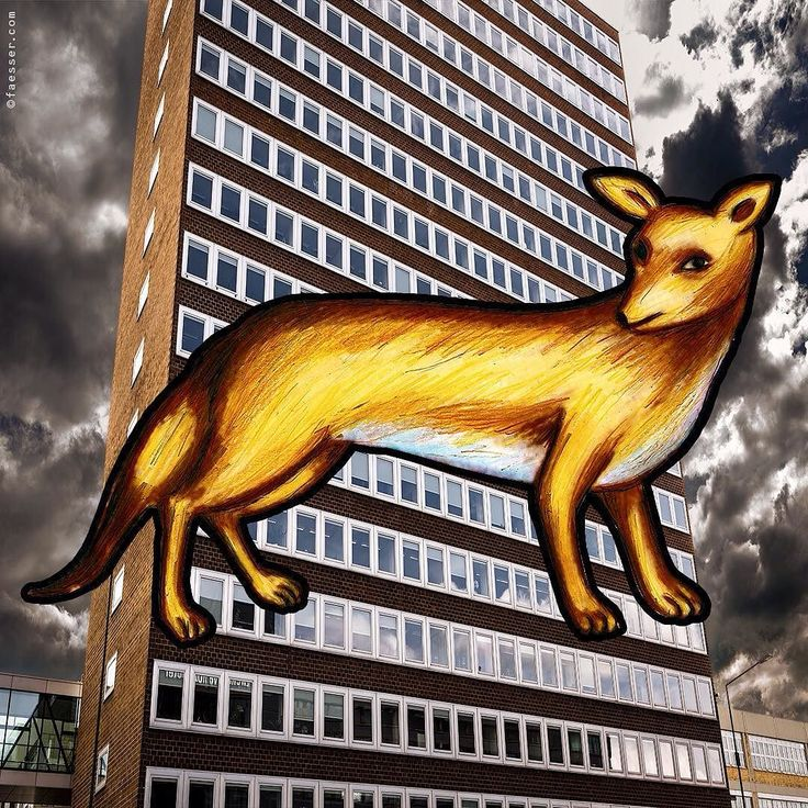 Fox On The Fly. My Zurich Pokemon original print 150 / 230 cm. #rolandfaesser #cityfox #pokemon #2016 #contemporaryart #streetart #urbanart #surreal #collage #digitalart https://faesser.com/