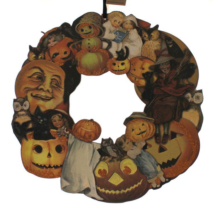 halloween vintage halloween wreath halloween decor - Vintage Style Halloween Decorations