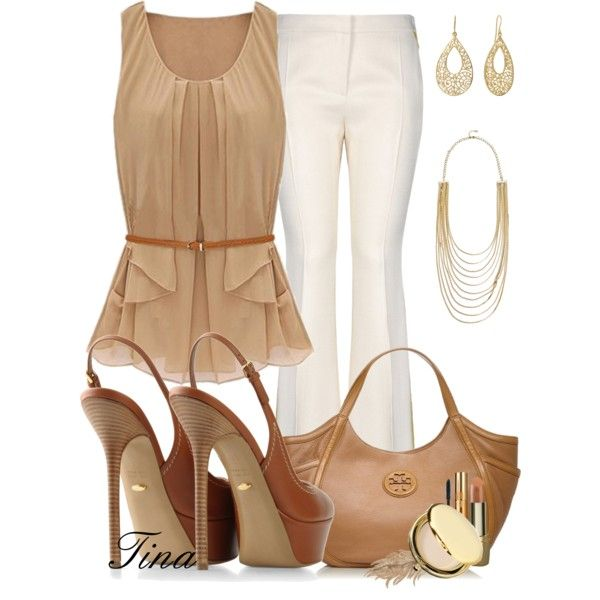 A fashion look from January 2013 featuring white pants, platform shoes and Tory Burch. Browse and shop related looks.