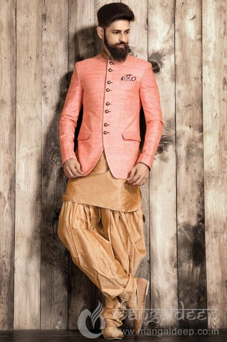 Pink And Golden Silk Indo Western Mens Wear Suit. For more information :- Call us @+919377222211 (Whatsapp Available)