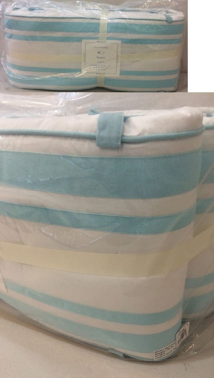 Baby Nursery: Nip Pottery Barn Kids Baby Aqua Harper Nursery Crib Bumper Pad BUY IT NOW ONLY: $41.46