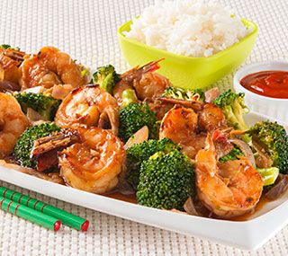 Ginger Prawns with Broccoli: A quick cooking seafood dish rich with palate awakening fresh ginger.