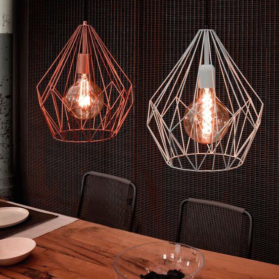 Druciane lampy wiszące w stylu vintage do kuchni. #mlamp #oświetlenie #lampa #lampy  #retro #vintage