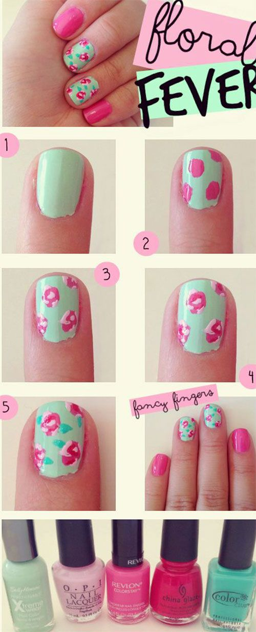 I love these floral nails. Easy tutorial to follow. Easy for beginners. #I♥summer#I♥nails