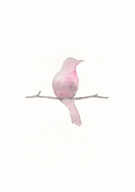 LOVE this Pink Birdie (8x10 Watercolor Print by #kellybermudez on #Etsy)