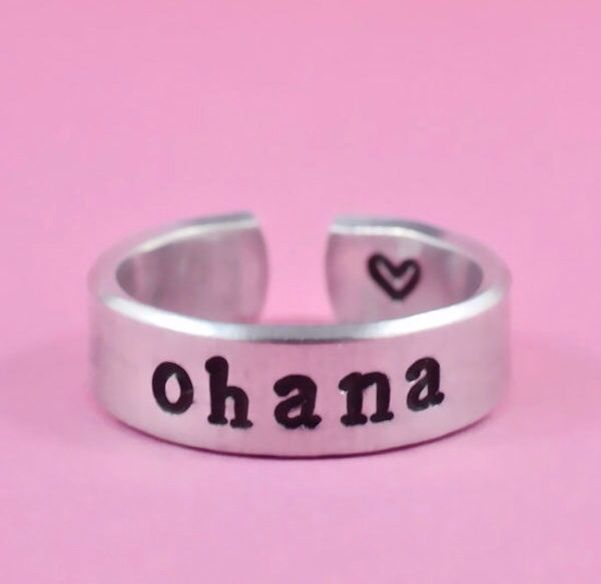 "Ohana Means Family Disney Lilo And Stitch Inspired Adjustable Ring Handmade SHIPS FROM USA  You will receive one handmade ring with the word, ""Ohana"" and an inside stamp heart. Inspired by the film, ""Lilo And Stitch"", the word ohana means family in Hawaiian culture.  Adjustable but sized, plea..."