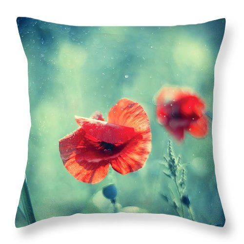 Throw Pillow featuring the photograph Red Poppy On Aqua by Oksana Ariskina. A red garden poppy flower in a sparkling bokeh aqua turquoise sunny abstract background. Available as mugs, posters, greeting cards, phone cases, throw pillows, framed fine art prints, metal, acrylic or canvas prints, shower curtains, duvet covers with my fine art photography online: www.oksana-ariskina.pixels.com #OksanaAriskina