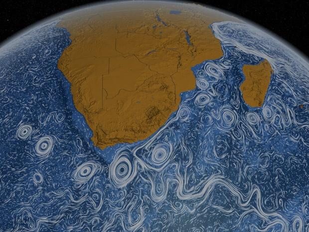 Imagem da Nasa mostra correntes marítimas na região da África Austral (Foto: NASA/Goddard Space Flight Center Scientific Visualization Studio)