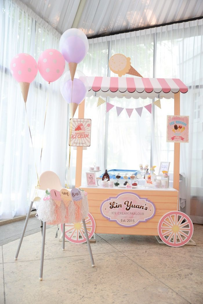 Ice Cream Stand + Bar from an Ice Cream Parlor Birthday Party via Kara's Party Ideas - KarasPartyIdeas.com (19)