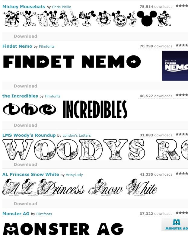 4 pages of FREE Disney fonts - this is just a sampling.  Princesses, Mickeys, Castles, Monsters Inc, Finding Nemo etc...
