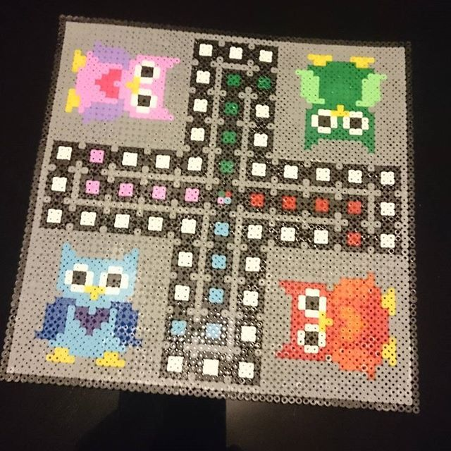 Owl ludo board game hama beads by solveigfredriksen92