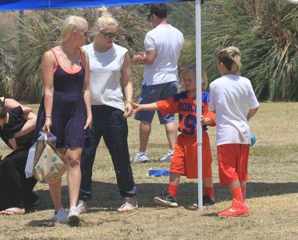 Gwen Stefani and Gavin Rossdale attend their son Zuma's football game