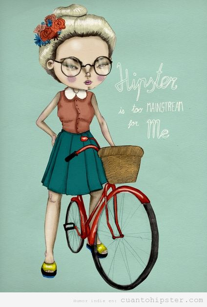 Ilustración de una chica en bicicleta, hipster is too mainstream for me