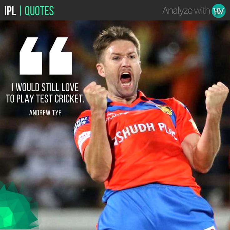 #PlayerQuotes Although Andrew Tye has got 2 Hattricks in T20s now, his aim is still to play the ultimate format! #IPL #IPL2017 #IPL10 #cricket #GL