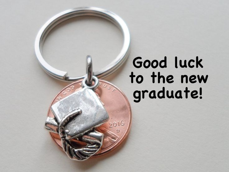 Cap And Diploma Charm Layered Over 2015 Penny Keychain - Good Luck To The New Graduate; Hand Made; Graduation Gift Модель - фото 2
