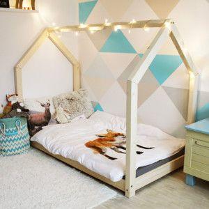 Dětská dřevěná postel ve tvaru domečku, 90x180 cm
