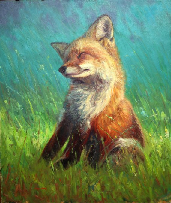 Scratch and Stretch-Red Fox original oil painting by danm710