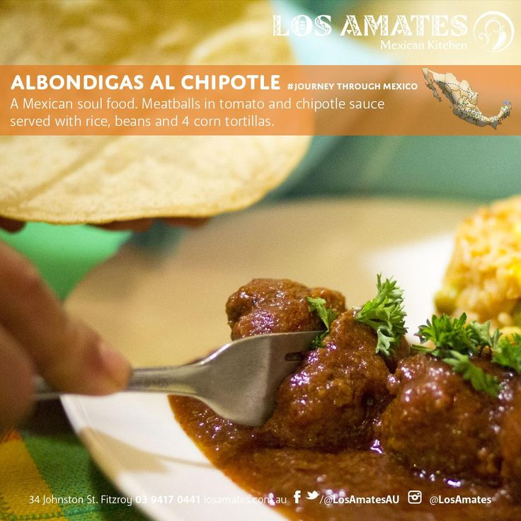 Albondigas al Chipotle A Mexican soul food.  Meatballs in tomato and chipotle sauce served with rice, beans and 4 corn tortillas de El Cielo