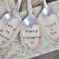 SET OF 3 Hand Stamped Vintage Spoon Christmas Ornaments - Unique Keepsake Ornaments - You PICK 3