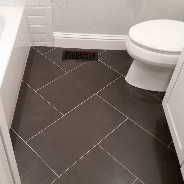 This espresso tile provides great contrast to the light flooring, is classic and easy to care for. Small Bathrooms 12x24 Tile Bathroom Floor