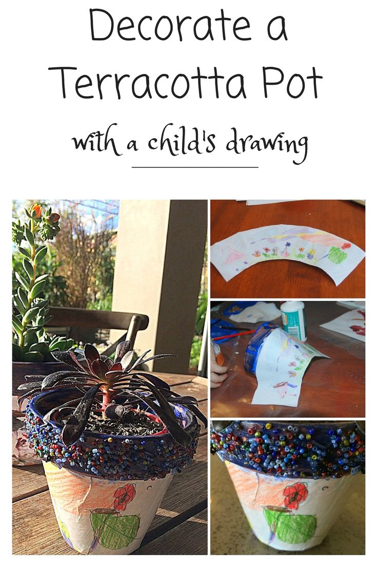 Decorate a Terracotta Pot with a child's drawing - great idea for Father's Day http://beafunmum.com/2014/08/diy-decoupage-a-terracotta-pot-with-a-childs-drawings/