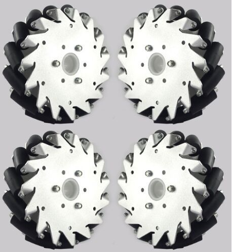 (6 Inch) 152mm Aluminum Mecanum Wheels Set (2left, 2right) Basic 14165. This set of (6 inch) 152mm mecanum wheel including 4 pieces that are 2 right wheels