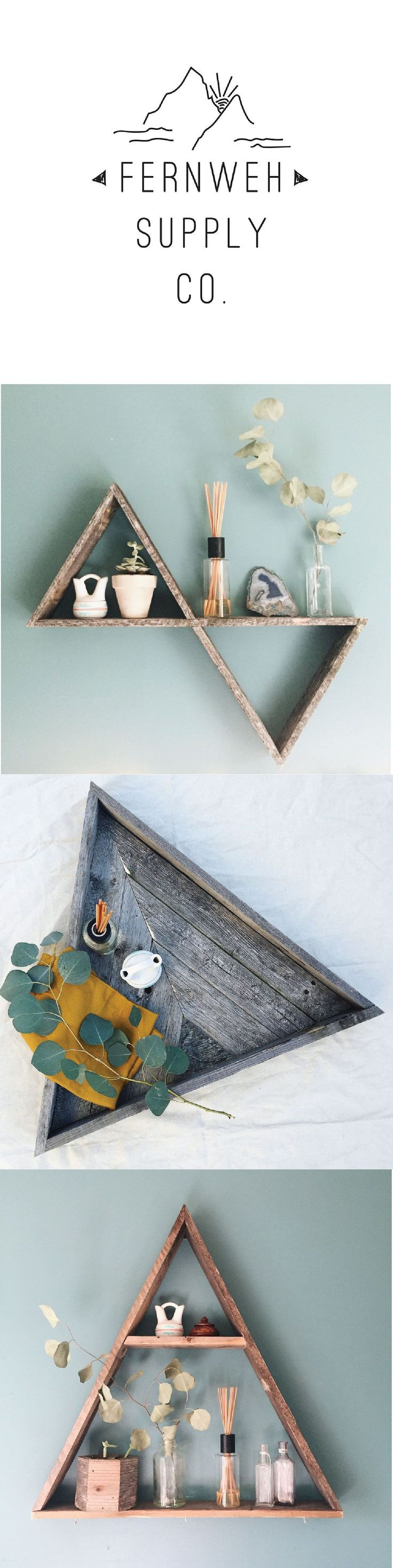 Fernweh Supply Company sells Handcrafted Reclaimed Pallet Wood Home Goods. Click the link to shop Triangle Shelves, Hexagon Shelves, Breakfast Trays, Planters, Hanging Shelves and so much more! Home Decor Inspo!