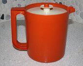 Vintage Orange Tupperware brand plastic pitcher