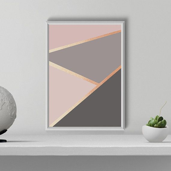 Geometrical Print, Modern Minimalist wall art, Abstract Wall Decor, Rose Gold blush gray Print, Room decor, Gift for Her, Printable