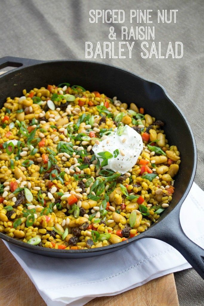 This spiced raisin and pine nut barley salad recipe makes a fast and easy vegetarian dinner - and a great packed lunch, too! | fannetasticfood.com
