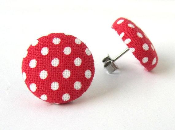 Rockabilly retro red polka dot earrings from KooKooCraft.