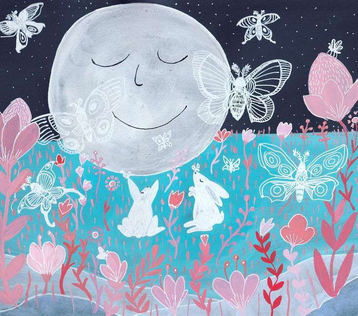 Moths & The Moon Rabbits  Available on Etsy  https://www.etsy.com/ca/listing/516560643/original-illustration-gouache-painting?ref=shop_home_active_6