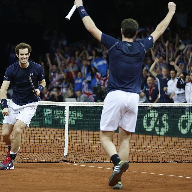 Andy Murray and Jamie Murray gave Great Britain a 2-1 lead in the #DavisCupFinal with a 64 46 63 62 win over Steve Darcis and David Goffin #ShowYourColours #BackTheBrits #tennis #