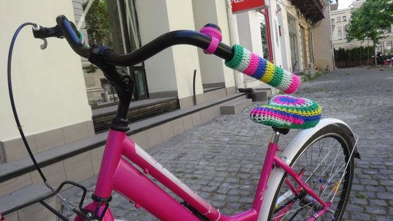 Ready to ship handmade set of crochet bicycle handlebars cover rainbow bright colors bike handlebar covers - In stock item!