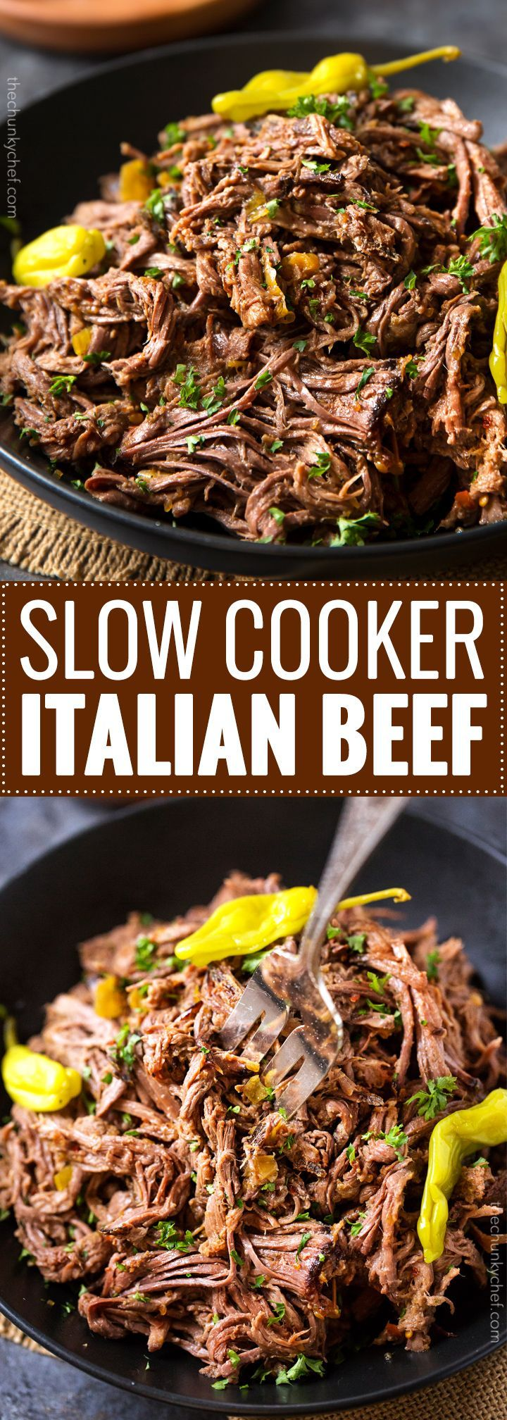 Slow Cooker Shredded Italian Beef | Tangy and spicy, this Italian beef is easily cooked in a slow cooker until fork tender, then shredded, for the ultimate in delicious easy weeknight dinners! | http://thechunkychef.com